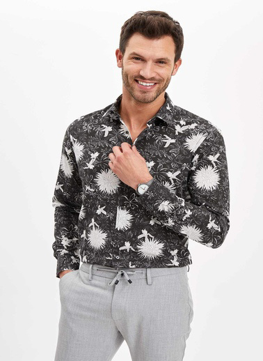 DeFacto Desenli Modern Fit Gömlek Siyah
